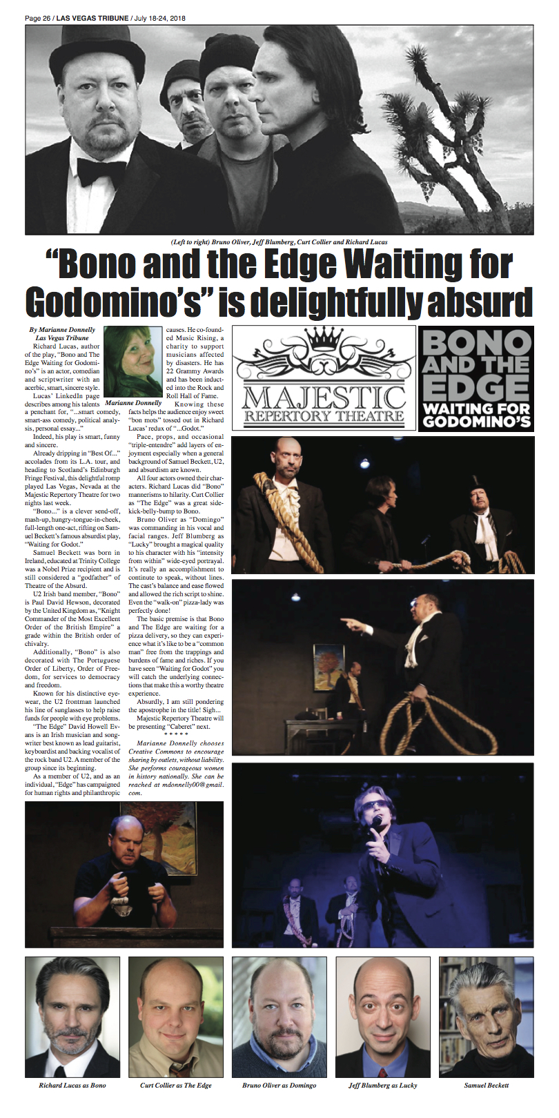 Richard Lucas' award-winning play, Bono and The Edge Waiting for Godomino's, featured in NoHoArtsDisctrict.com